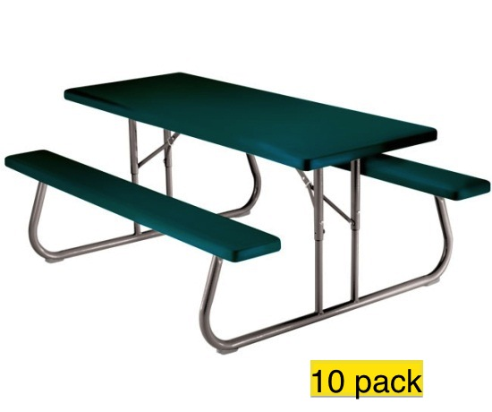 Lifetime picnic tables folding 2123 6 ft hunter green for 10 ft picnic table