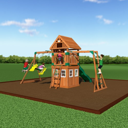 backyard discovery 54413 castle peak wooden swing set with playhouse