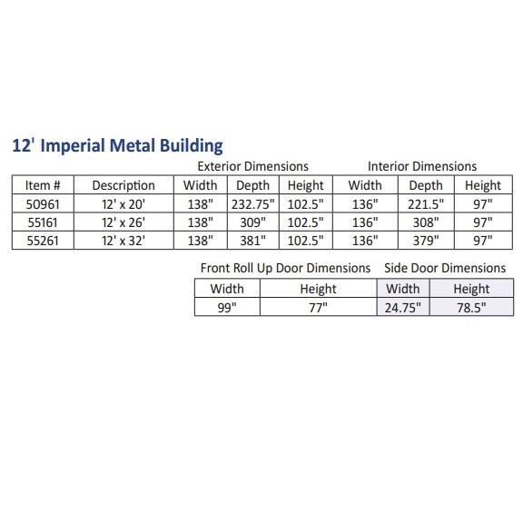55161 55131 Duramax Imperial Storage Buildings 12x26 Metal