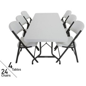 4 Lifetime 6 Folding Tables And 24 Folding Chairs 80148 White